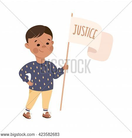 Kind And Fair Little Boy Holding Placard With Justice Word On It Vector Illustration