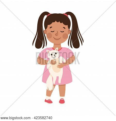 Kind And Fair Little Girl Holding Cat Protecting It Doing Justice Vector Illustration