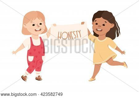 Kind And Fair Little Girls Holding Placard With Honesty Word On It Vector Illustration