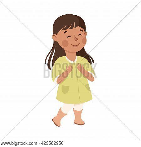 Smiling Little Girl Standing Feeling Happy Vector Illustration