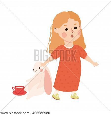 Kind And Fair Little Girl Protecting Toy Hare From Hooligan Doing Justice Vector Illustration