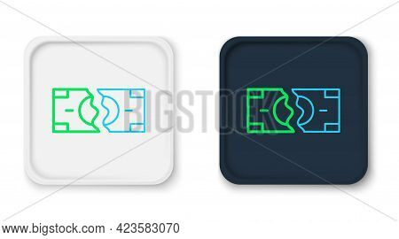 Line Tearing Apart Money Banknote Into Two Peaces Icon Isolated On White Background. Colorful Outlin
