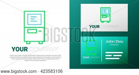 Line Atm - Automated Teller Machine Icon Isolated On White Background. Colorful Outline Concept. Vec