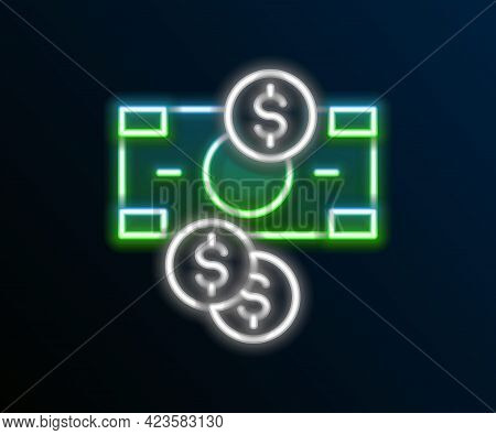 Glowing Neon Line Stacks Paper Money Cash And Coin Money With Dollar Symbol Icon Isolated On Black B