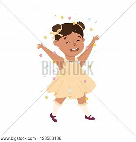 Cute Girl Playing Confetti, Adorable Kid Leisure Activity Concept Cartoon Vector Illustration