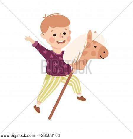 Cute Boy Riding Stick Horse, Adorable Kid Leisure Activity Concept Cartoon Vector Illustration