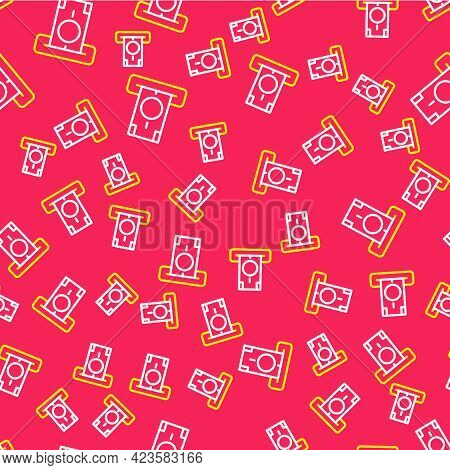 Line Atm - Automated Teller Machine And Money Icon Isolated Seamless Pattern On Red Background. Vect
