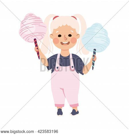 Cute Girl Eating Sweet Cotton Candy On Stick, Adorable Kid Leisure Activity Concept Cartoon Vector I