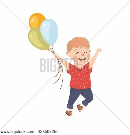 Cute Boy Playing Inflatable Balloons, Adorable Kid Leisure Activity Concept Cartoon Vector Illustrat