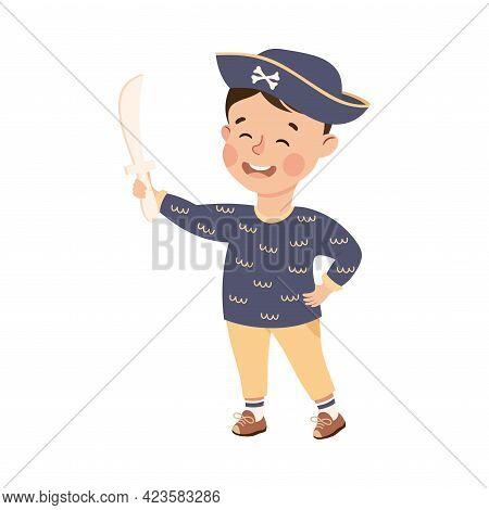 Cute Boy Playing Captain With Sword, Adorable Kid Leisure Activity Concept Cartoon Vector Illustrati