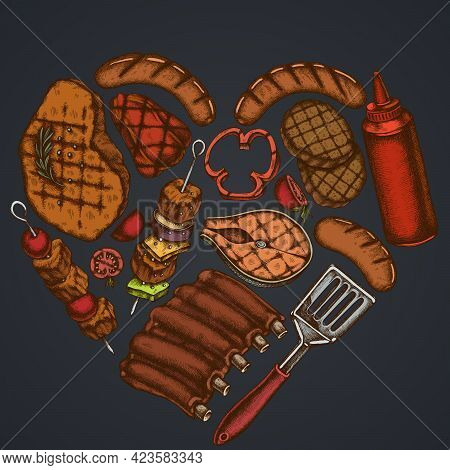 Heart Design On Dark Background With Spatula, Pork Ribs, Kebab, Sausages, Steak, Sauce Bottles, Gril