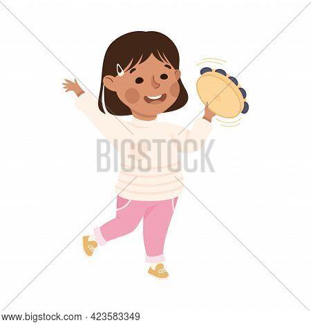 Cute Girl Playing Tambourine, Adorable Kid Leisure Activity Concept Cartoon Vector Illustration