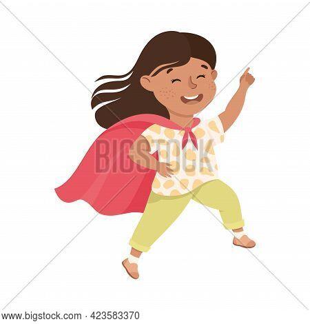 Cute Girl Having Fun Wearing Red Cape, Adorable Kid Leisure Activity Concept Cartoon Vector Illustra