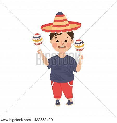 Cute Boy In Sombrero Hat Playing Maracas, Adorable Kid Leisure Activity Concept Cartoon Vector Illus
