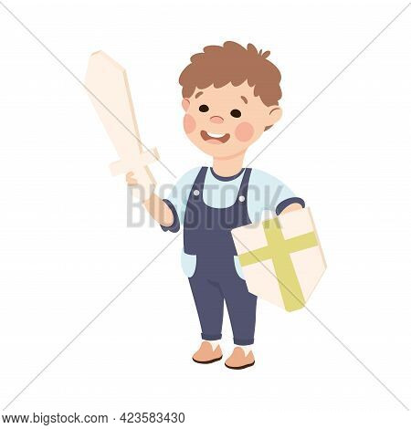 Cute Boy Playing Knight Holding Paper Shield And Wooden Sword, Adorable Kid Leisure Activity Concept
