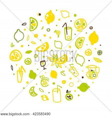 Fresh Healthy Lemonade And Citrus Fruits Seamless Pattern In Circular Shape, Refreshing Summer Drink