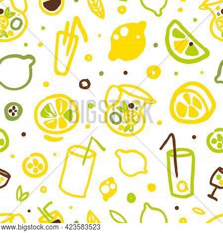 Lemonade And Citrus Fruits Seamless Pattern, Refreshing Summer Drinks Background, Wallpaper, Textile