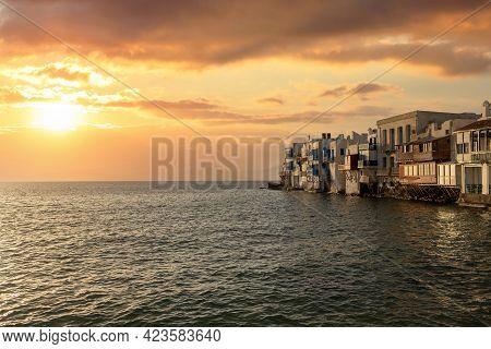 Little Venice At Sunset, Mykonos Island Aegean Sea. Cyclades Greece.