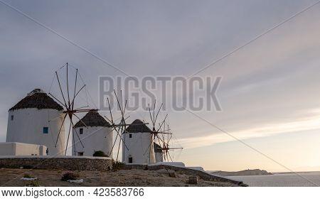 Traditional Windmills, Mykonos Island Landmark At Sunrise, Cyclades Greece