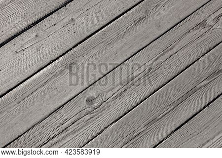 Wooden Background From Gray Boards, Natural Texture Of Old Wood, Floor Or Wall Wallpaper, Copy Space
