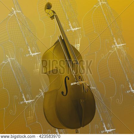 Classic Violoncello. Outline Classic Cello  Isolated On Colored Background. 3d Illustration