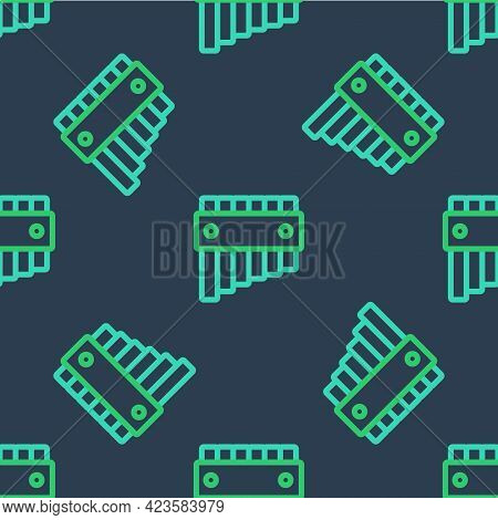 Line Pan Flute Icon Isolated Seamless Pattern On Blue Background. Traditional Peruvian Musical Instr