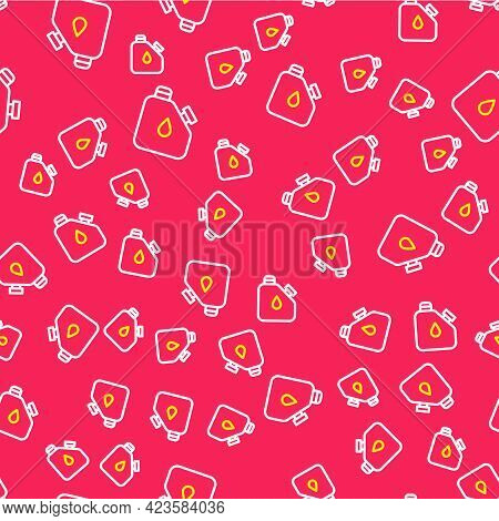 Line Canister For Flammable Liquids Icon Isolated Seamless Pattern On Red Background. Oil Or Biofuel