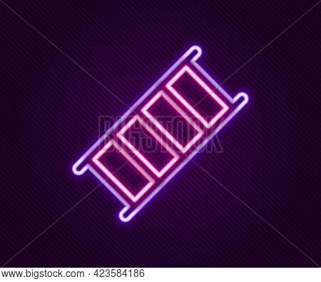Glowing Neon Line Fire Escape Icon Isolated On Black Background. Pompier Ladder. Fireman Scaling Lad