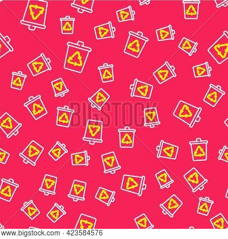 Line Recycle Bin With Recycle Symbol Icon Isolated Seamless Pattern On Red Background. Trash Can Ico