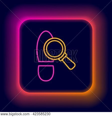 Glowing Neon Line Magnifying Glass With Footsteps Icon Isolated On Black Background. Detective Is In