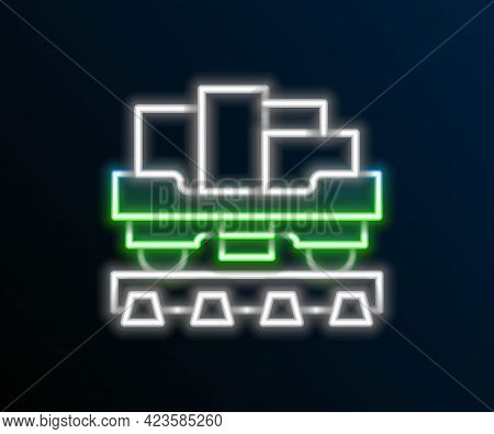 Glowing Neon Line Cargo Train Wagon Icon Isolated On Black Background. Full Freight Car. Railroad Tr