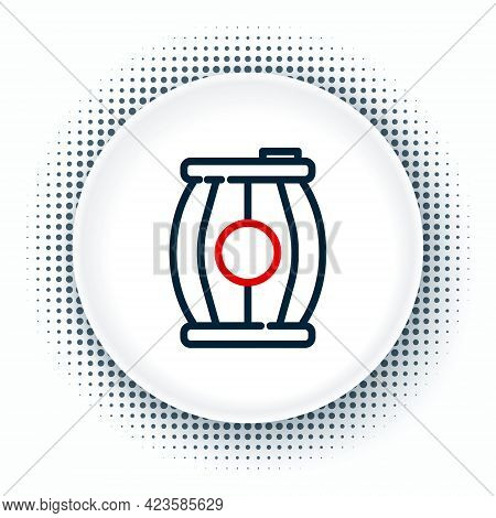 Line Gun Powder Barrel Icon Isolated On White Background. Tnt Dynamite Wooden Old Barrel. Colorful O