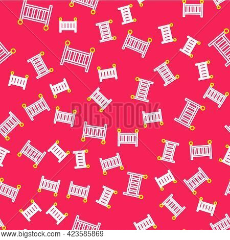 Line Baby Crib Cradle Bed Icon Isolated Seamless Pattern On Red Background. Vector