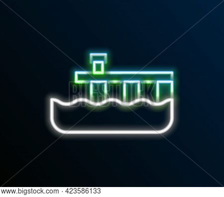 Glowing Neon Line Beach Pier Dock Icon Isolated On Black Background. Colorful Outline Concept. Vecto