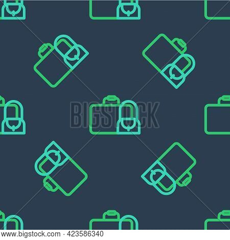 Line Suitcase For Travel Icon Isolated Seamless Pattern On Blue Background. Traveling Baggage Sign.