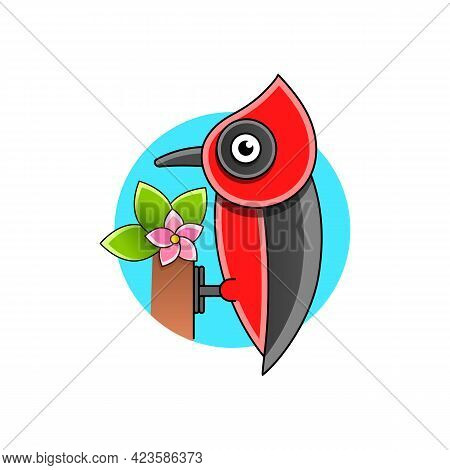 Woodpecker Print Stock Illustration On A White Background. For Design, Decoration