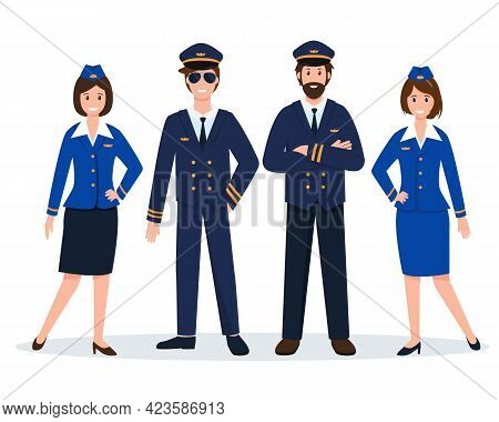 Airplane Staff Or Crew. Aircraft Captain, Pilot Assistant And Stewardesses In Uniform. Professional
