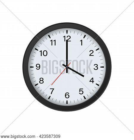Round Clock Mockup Isolated On White Background, 4 O'clock. Vector Illustration