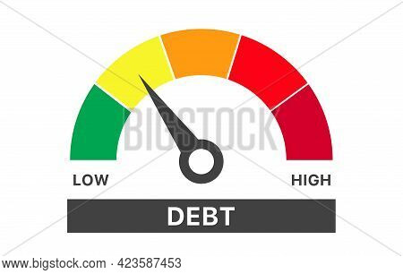Speedometer Scale With Arrow From Green To Red. Debt Measuring Device Icon. Sign Tachometer, Speedom