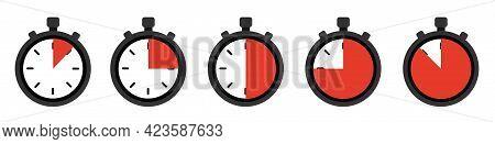 Timers Set On White Background. Web Timer Icon. Vector Illustration