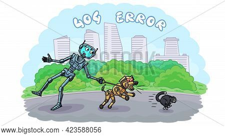 Web Page Template Error 404. Android, Robot Dog And Cat.