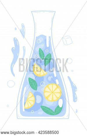 Pure Drinking Water With Lemon In Glass Carafe