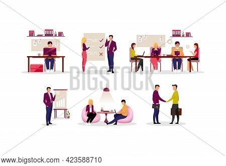 Office Routine, Coworking Flat Illustrations Set. Colleagues, Coworkers, Partners And Managers Worki