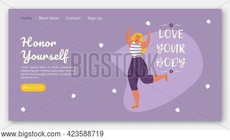 Honor Yourself Landing Page Vector Template. Body Positive Website Interface Idea With Flat Illustra
