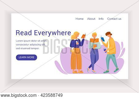 Read Everywhere Landing Page Vector Template. Bookshop Website Interface Idea With Flat Illustration