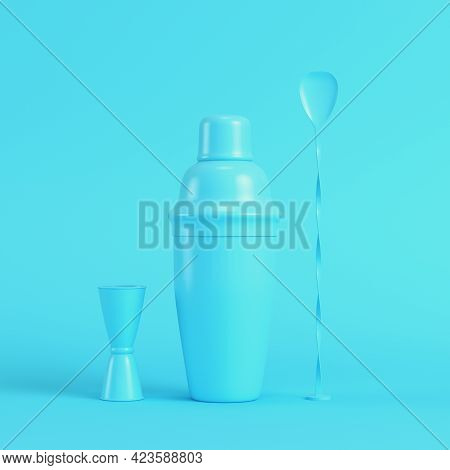 Cocktail Shaker With Jigger And Mix Spoon On Bright Blue Background In Pastel Colors. Minimalism Con