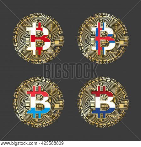 Four Golden Bitcoin Icons With Flags Of England, Faroe Islands, Luxembourg A Holland. Cryptocurrency