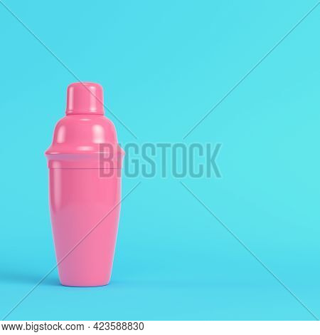 Pink Cocktail Shaker On Bright Blue Background In Pastel Colors. Minimalism Concept. 3d Render