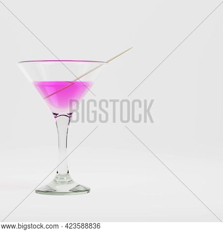 Coctail With Toothstick On Bright Background. 3d Render