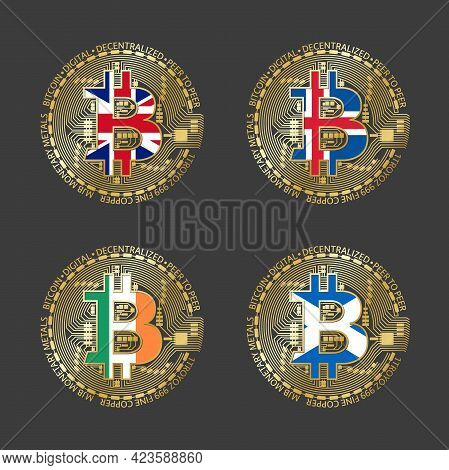 Four Golden Bitcoin Icons With Flags Of Britain, Iceland, Ireland And Scotland. Cryptocurrency Techn